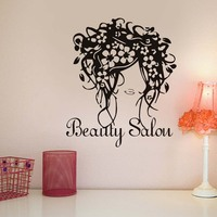 Flowers Hairstyle Vinyl Wall Art Decals Stickers Home Decor Living Room Wall Decor Beauty Salon Shop Self Adhesive Wallpaper