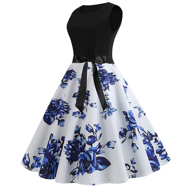 Womail dress Summer Vintage Sleeveless Print O-Neck Dress Evening Party Elegant Dress with Belt Daily fashion  2020  M9 3