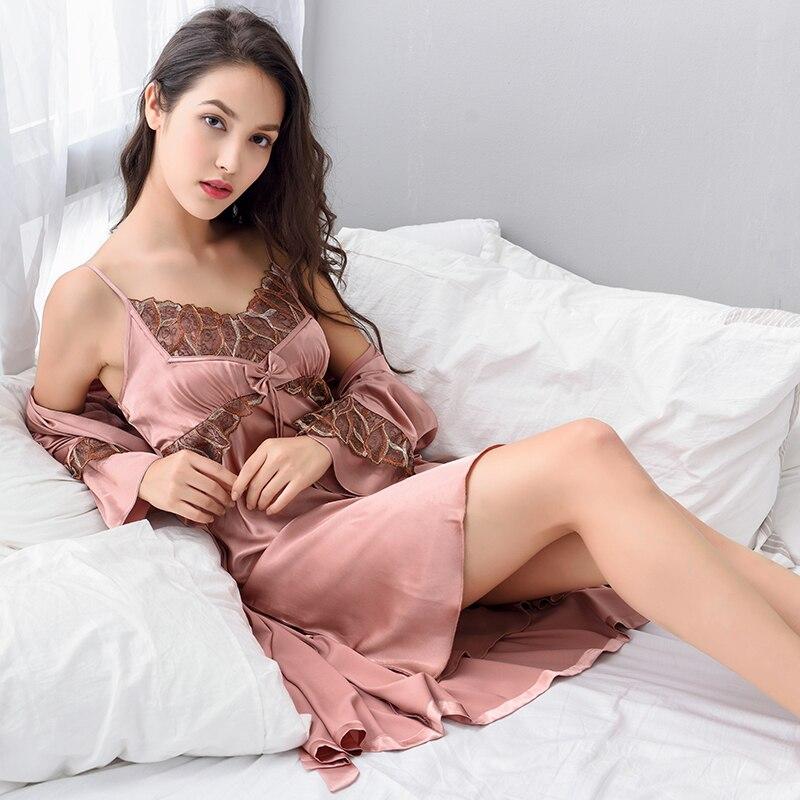 Xifenni Robe Sets Female Faux Silk Sleepwear Women Two ...