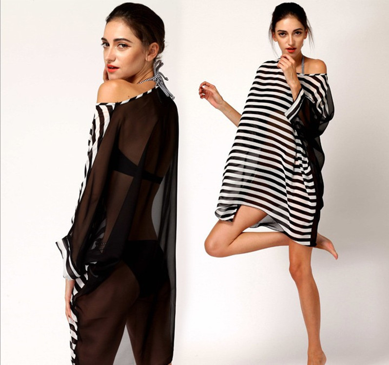 46b6bcd78f Black and white striped Bat Sleeve Chiffon shirt wrap skirt veil Bikini  swimsuit women s sexy beach O neck Cover shirt blouse