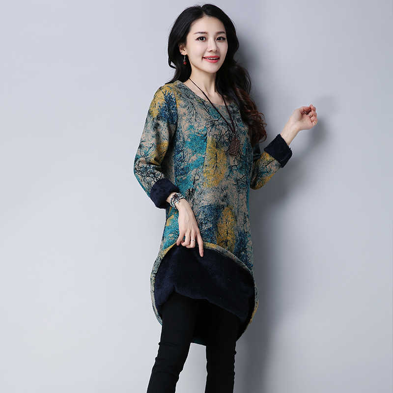 ... P Ammy Plus Size Fleece Retro Floral Print Long Dresss Warm Oversized  Linen  Fleece voguees Loose 22fb992ab8e5
