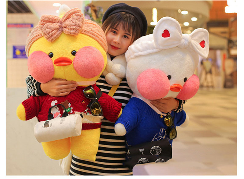 80cm Lalafanfan Plush Stuffed Toys Doll Kawaii Cafe Mimi Yellow Duck lol Change Clothes Plush Toys Girls Gifts Toys for Children 16