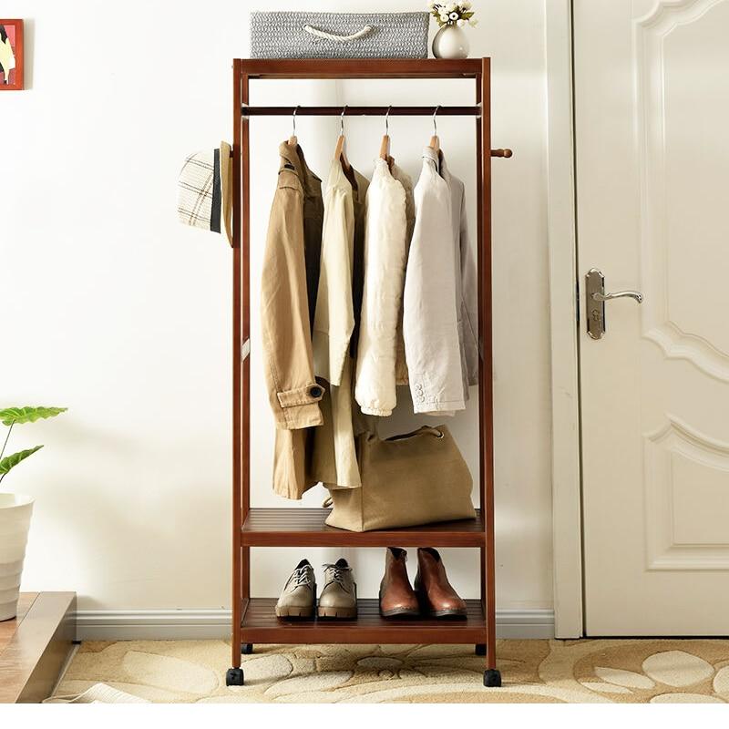 цена LK564 Creative Matsuki Clothes Hanger Bedroom Coat Floor Rack Simple Wooden Clothes Storage Rack Modern Wardrobe Furniture