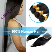 Brazilian Straight Virgin Hair With Closure Human Hair Weft With Closure Brazilian Cheap Hair Bundles With Lace Closure