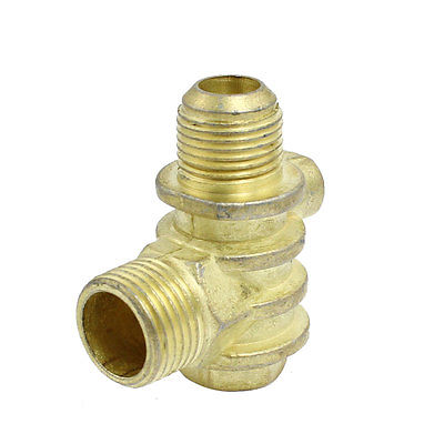 Double Male to 1 Female Air Compressor Check Valve Replacement Brass Tone m m 13mm to 9mm male thread air compressor inline manual valve