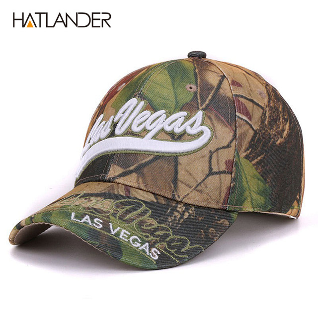 584ac69df724c Hatlander Las Vegas leaf camouflage baseball caps summer fishing hats  gorras curved letter camo women outdoor sports cap for men