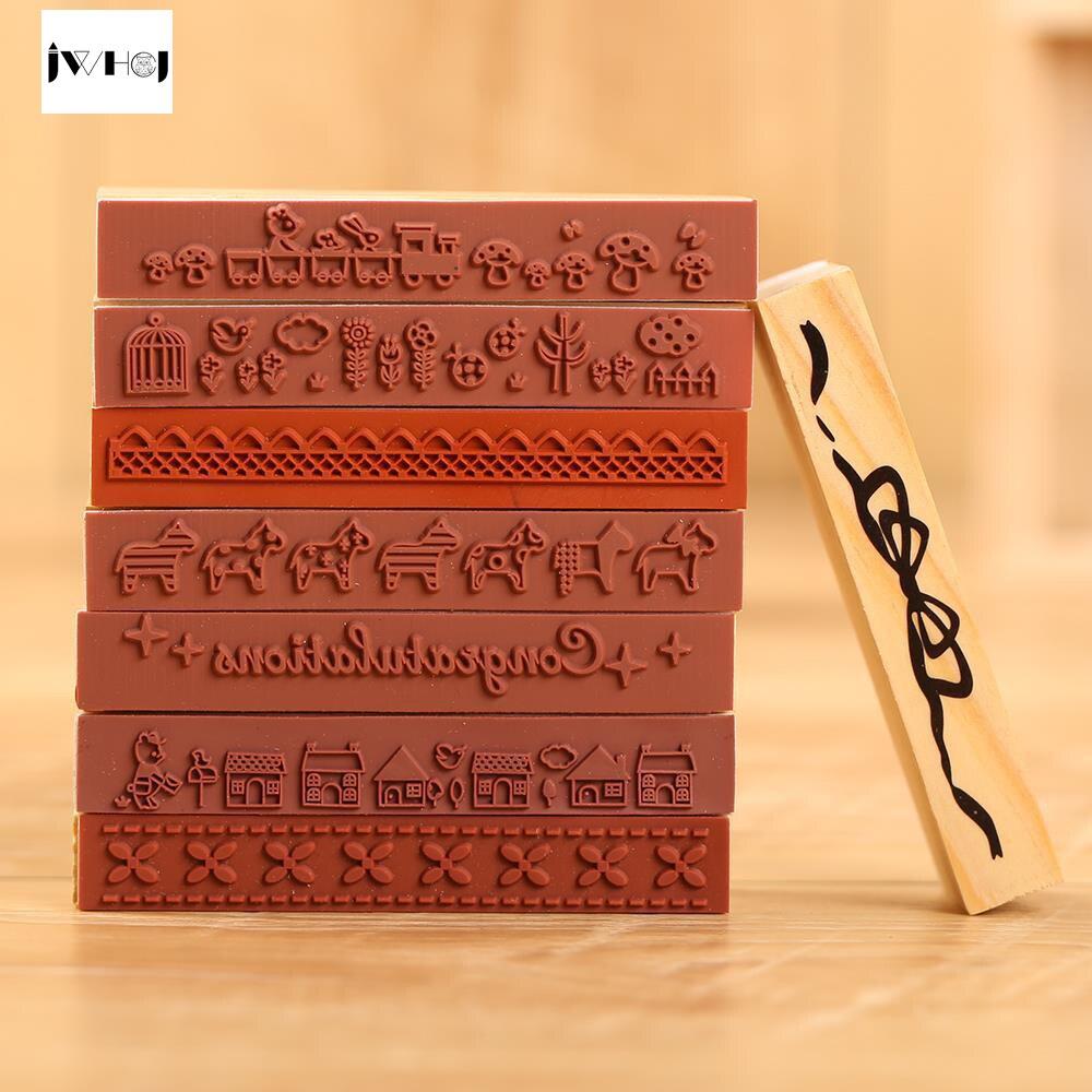 1 pcs Strip shape cute animals wooden rubber stamp Kids DIY Handmade Scrapbook Photo Album, students Stamps Arts, Crafts gifts
