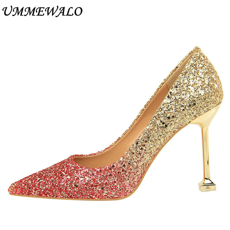 UMMEWALO Sexy High Heels Shoes Women Sequined Cloth Gradient Pumps Women Super High Pointed Toe Shoes Ladies Shoes New Arrival