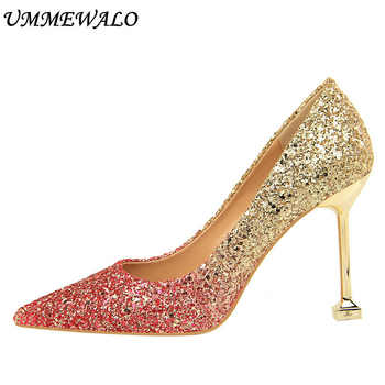 UMMEWALO Sexy High Heels Shoes Women Sequined Cloth Gradient Pumps Women Super High Pointed Toe Shoes Ladies Shoes New Arrival - DISCOUNT ITEM  0% OFF All Category
