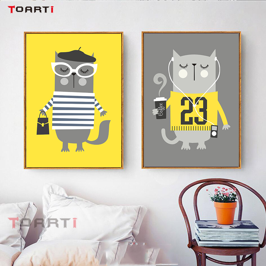 Cartoon Yellow Animal Canvas Art Painting Poster And Print Wall ...