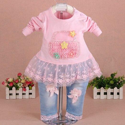 Neue 2017 Mädchen Kleidung Set 3pcs Kinder Mädchen Denim Set Baby - Babykleidung - Foto 2