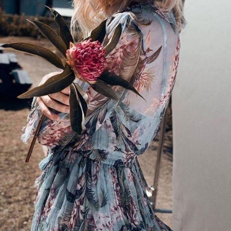 2017 European Sexy Women Tropical Bodysuits Plunging Neckline Ruffles Silk Chiffon Playsuits Summer Beach Floral Print