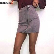 Mini falda de mujer con cremallera de gamuza ceñida Falda de tubo Sexy para mujer  falda de fiesta de Club de otoño falda de fond. 9c909d83e57d
