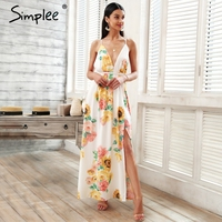 Simplee Cross V Neck Floral Print Long Dress Women Backless Lace Up Summer Chiffon Maxi Dress