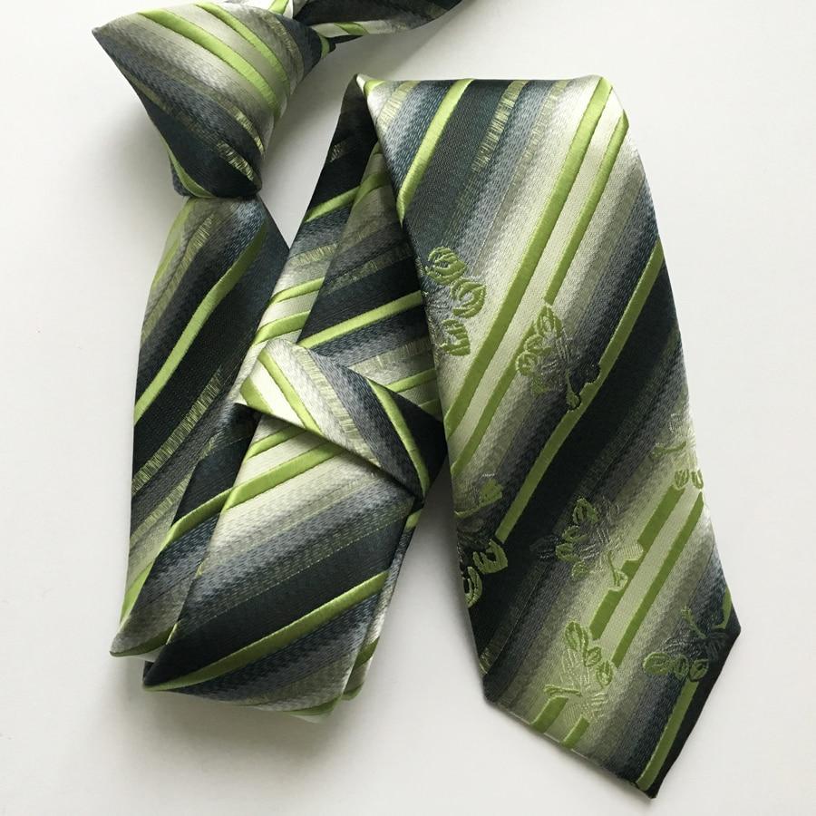 Desainer kurus kepribadian dasi atas, Garis-garis hijau neon dengan - Aksesori pakaian - Foto 2
