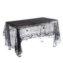 Black Lace Spider Web Halloween Tablecloth Table Cloth Rectangle Tablecover Halloween Decorations Party Decor Props 240*120 Cm