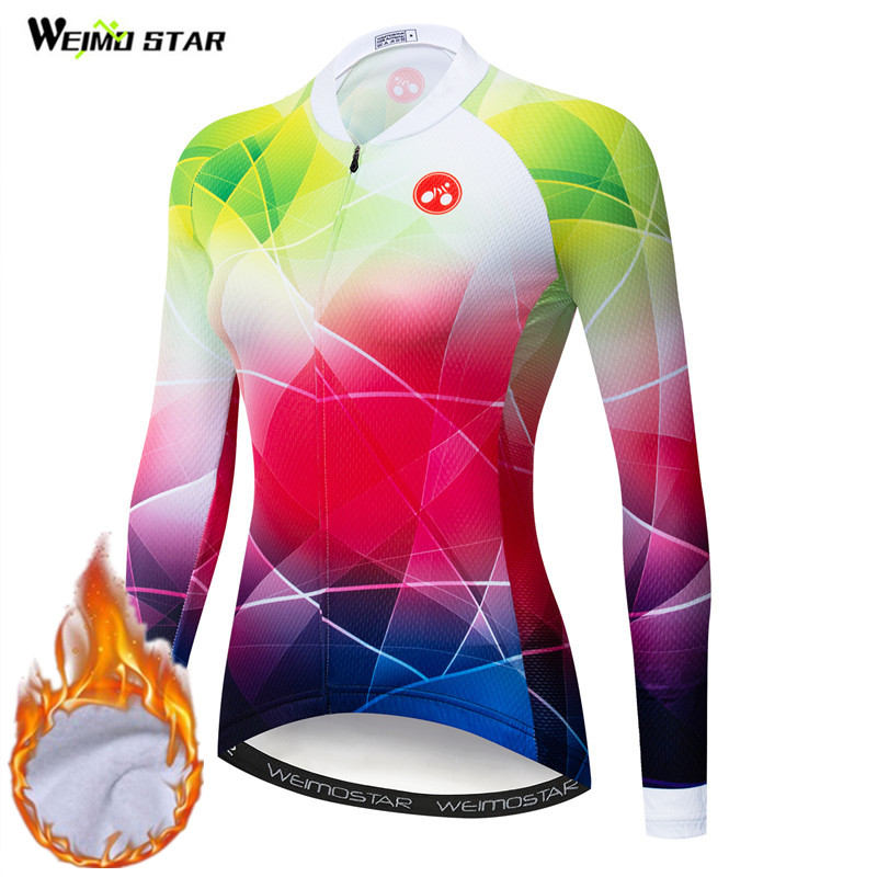 Weimostar Pro Team Thermal Fleece Cycling Jersey Women Winter Warm MTB Bike Jersey Top Windproof Bicycle Clothing Cycling Wear