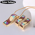 TOP Quality Fine Jewelry Sets Necklace/Earrings  Women Color Pattern Vintage for Women Pendant Necklace Enamel Jewelry