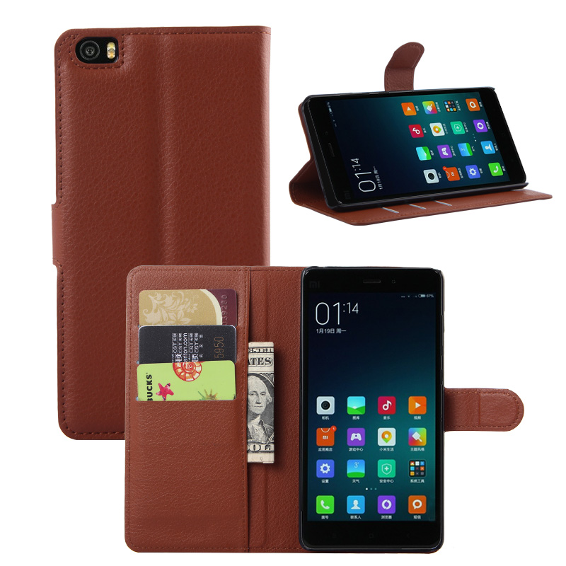 Lichee Pattern Wallet PU Leather Case For Xiaomi Note 5.7'' Cover Shell Card Holder and Standing Function