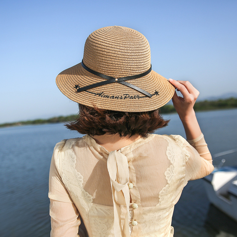 Wide Brim Straw Hat For Women Summer Sun Hats For Women Ladies Straw Hats Brown Girl Beach Letter Embroidery Chapeu Feminino
