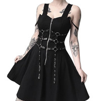 Black Mini Dress For Women Zipper Pleated Strap Summer Dress Gothic Street Punk Sexy Dress Vestido De Festa 40MAY23