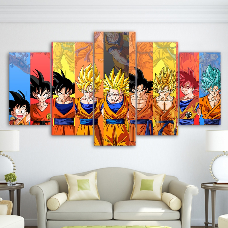 modular canvas art wall pictures frame home decor 5 pieces hd printed dragon ball z poster