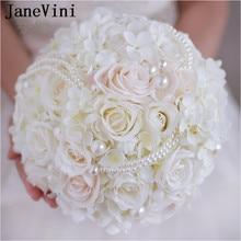 JaneVini 2018 Gading Bride Flower Bouquet dengan Mutiara Bunga Buatan Cahaya Champagne Roses Wedding Bouquet Bridal Bros