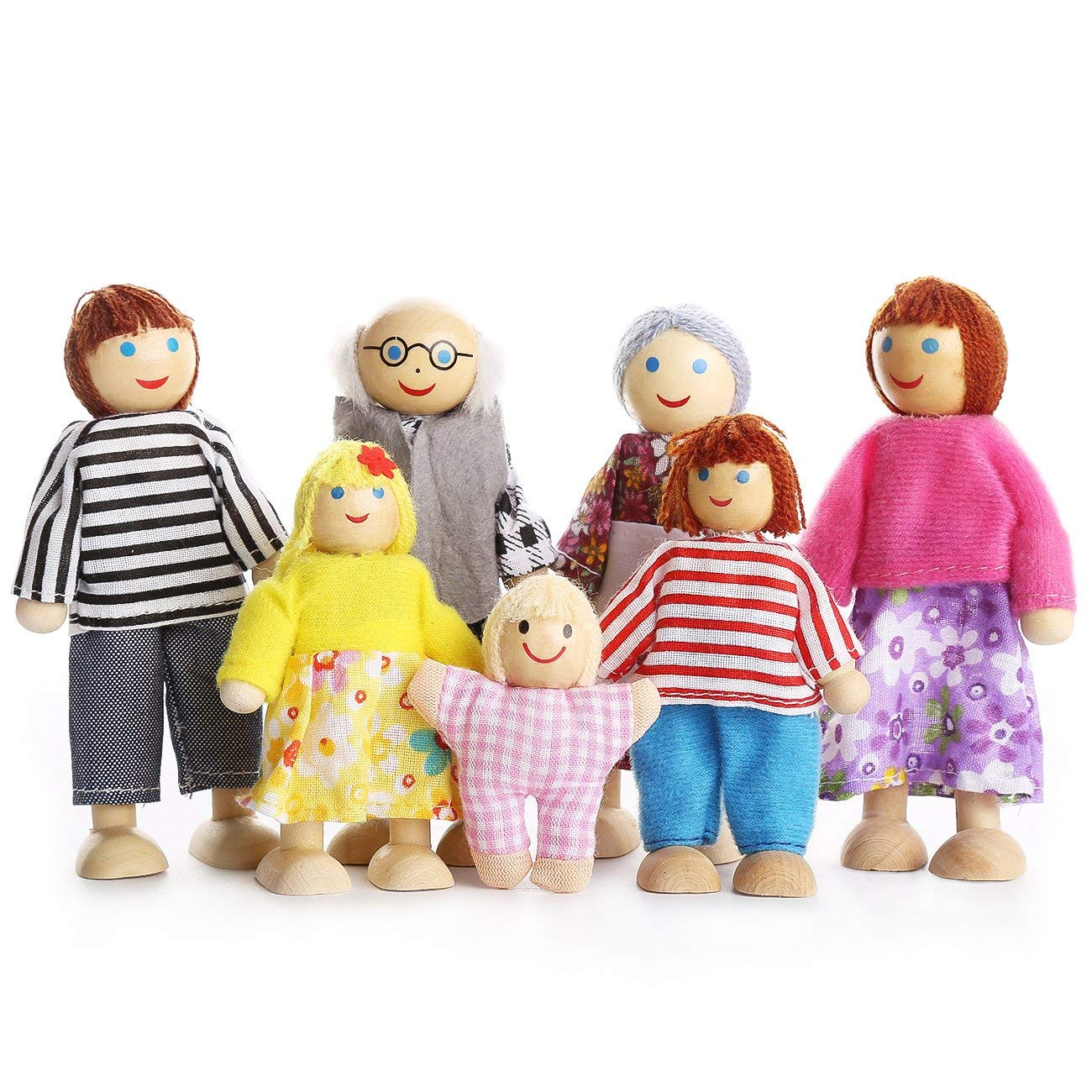 Kids Girls Lovely Happy Dolls Family Playset Wooden Figures Set of 7 People for Children House Pretend Gift image