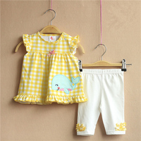 2016 Baby Summer Clothes Infant Casual 2pcs Clothing Set Girls Cartoon Plaid Print Tee White Pants