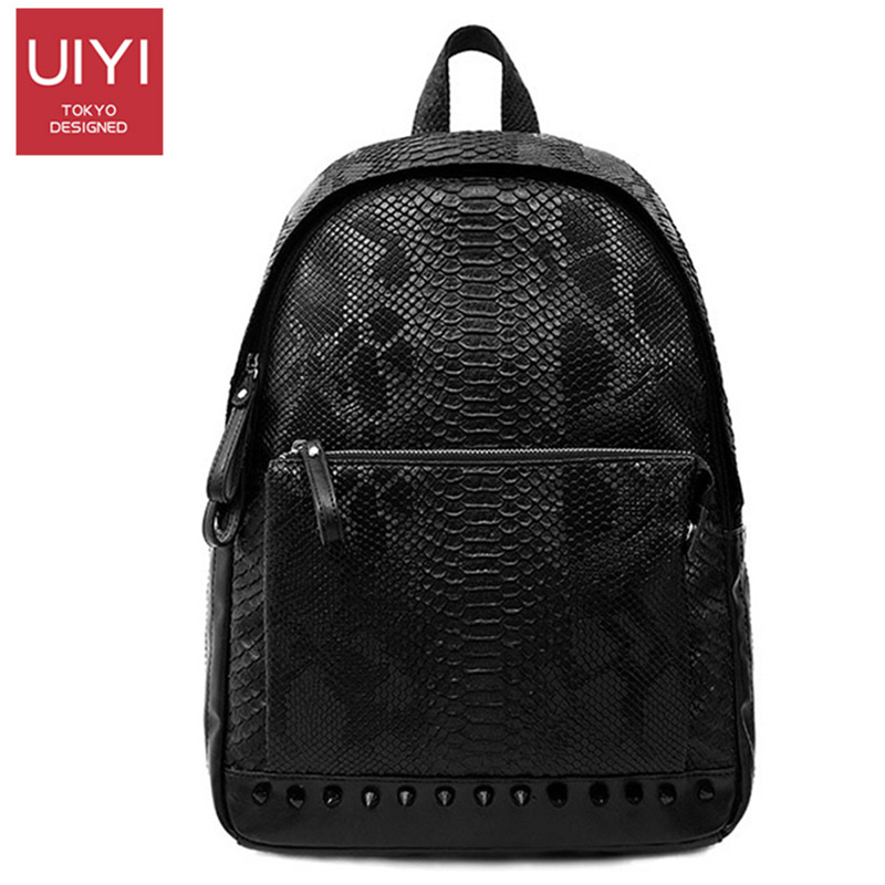 Men s backpack fashion trend personality tide package Korean version of the bag leather tide brand