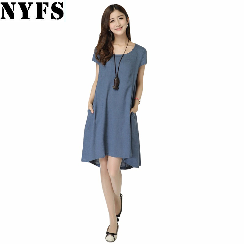 2017 New Summer dress Ladies Casual Cotton Linen long ...