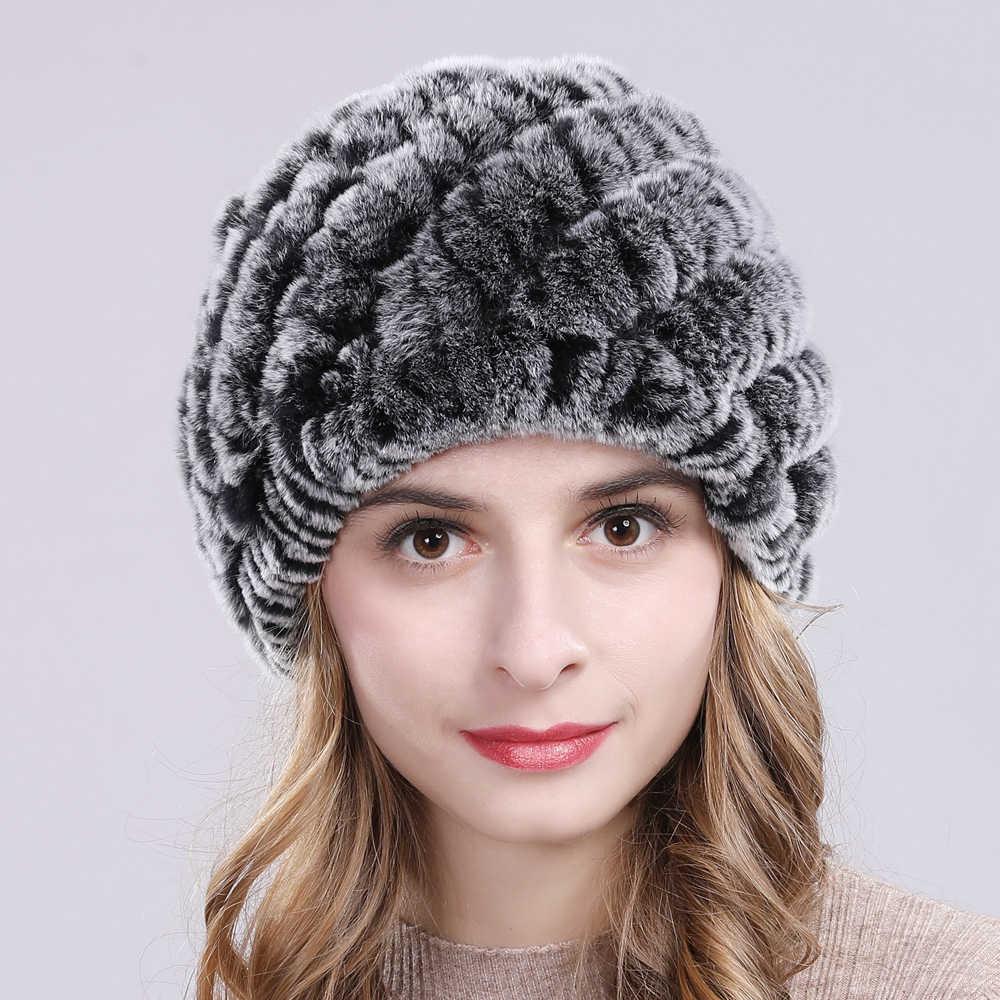 Inverno Russo Mulheres Real Rex Rabbit Fur Chapéus Handmade Malha Rex Coelho Genuine Fur Cap Qualidade Quente Gorros de Pele de Coelho chapéu