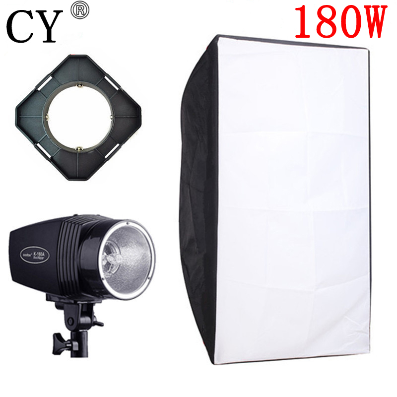 CY Photography Kits 180ws Mini Flash Light+50cm*70cm Softbox+Universal Mount Photo Studio Flash Lighting Kits Godox K-180A