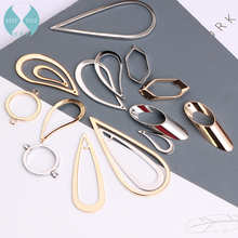 Diy minimalist geometric copper earring stud earrings accessories double hole circle link drop earrings jewelry materials