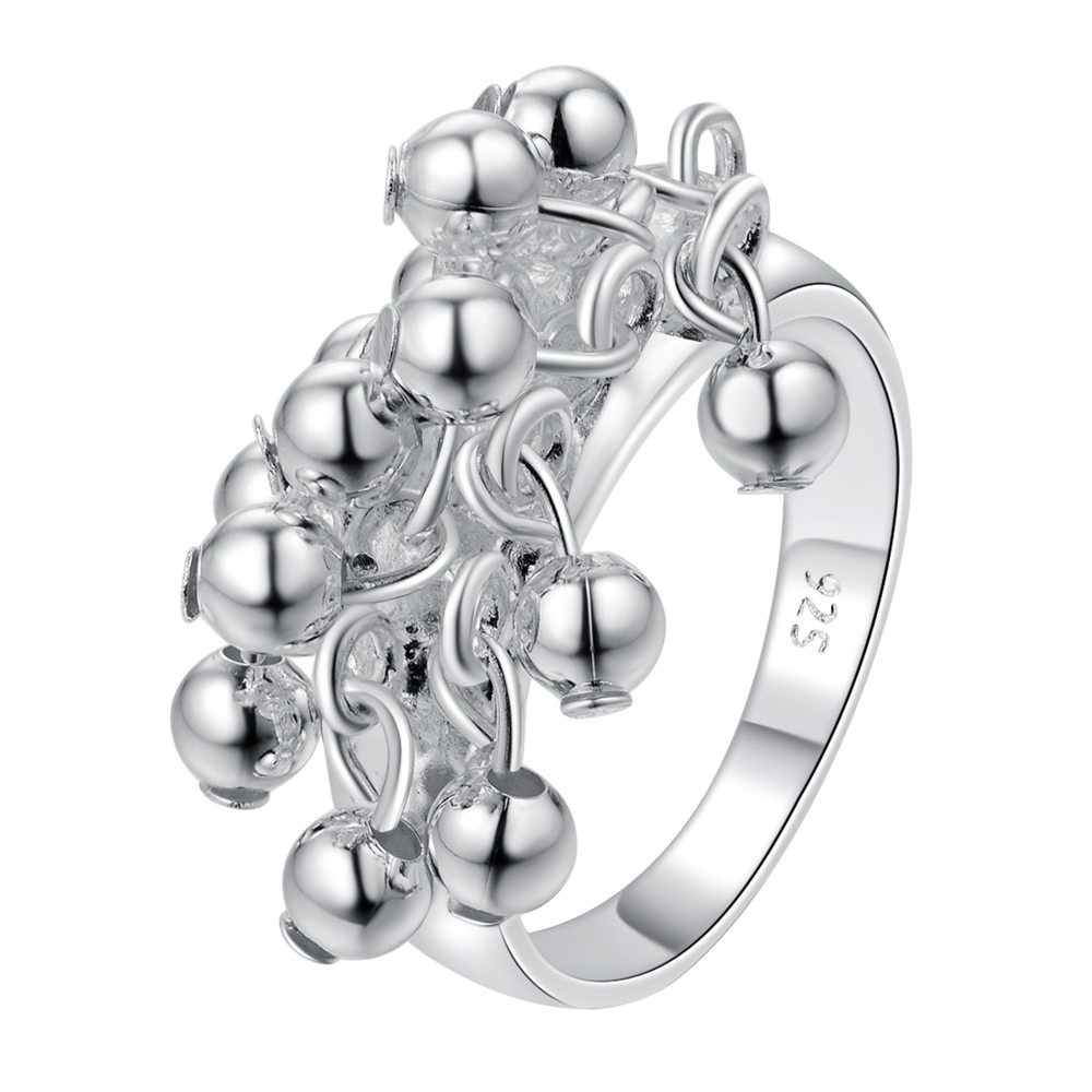 R016 Christmas gift free shipping wholesale jewelry bead silver color ring high quality fashion classic girl gift