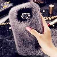 KISSCASE Per Samsung J2 J3 J5 J7 2016 Cassa del Diamante di Bling Pelliccia Dei Capelli del coniglio Cassa Del Telefono Per Samsung Galaxy J5108 J7108 Lusso copertine