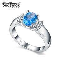 Suaymak nữ Chính Hãng 925 Sterling Silver women nhẫn với topaze màu xanh zircon woman nhẫn cưới trang sức vòng cổ điển sinh nhật