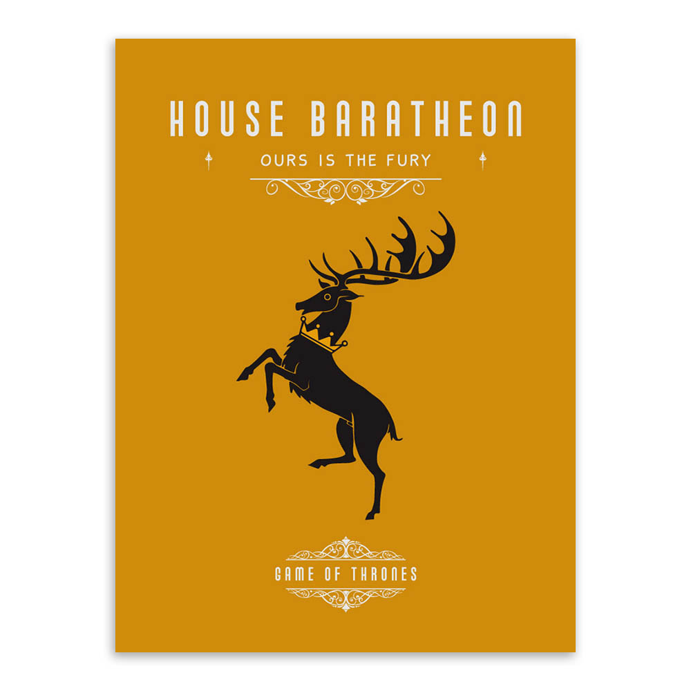 Game Of Thrones House Banners Poster Vintage Wall Art Canvas Prints ...