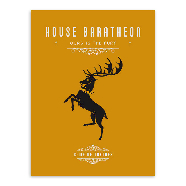 Game Of Thrones House Banners Poster Vintage Wall Art Canvas Prints Living Room Deer Pictures Painting Home Decor No Frame