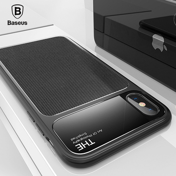 Baseus Luxury Phone Case For iPhone X Creative Tempered Glass + Silicone Hybrid Armor Case For iPhone X Anti Knock Phone Cover