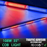 CYAN SOIL BAY 108W COB LED Emergency Warning Traffic Advisor Strobe Flash Light Bar Red Blue