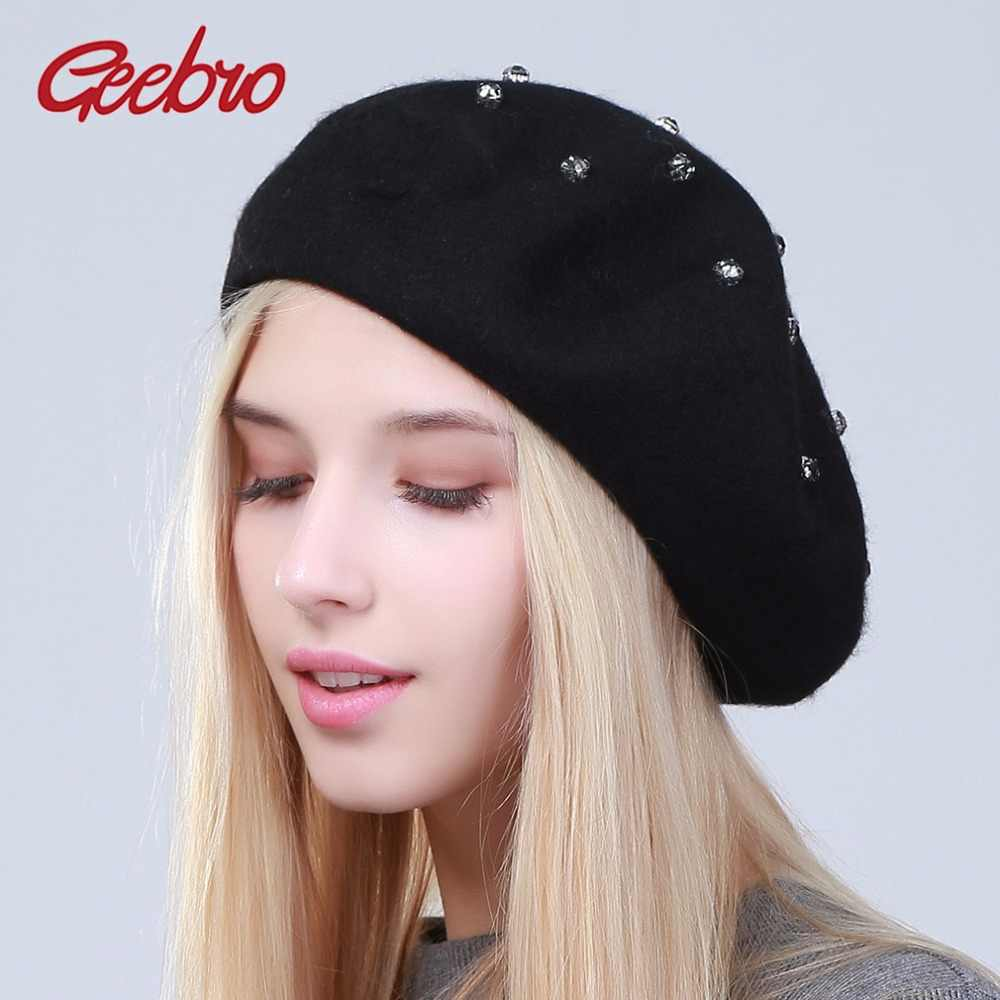 Geebro Women's Beret Hat Fashion Solid Color Wool Knitted Berets With Rhinestones Ladies French Artist Beanie Berets Hat DQ104