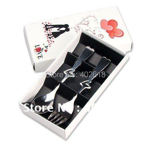 "(2Boxes/Lot) Hot sale, Dinnerware set,  tableware, steel spoon, stainless(fork+spoon), Size 5.7"", novelty & love"