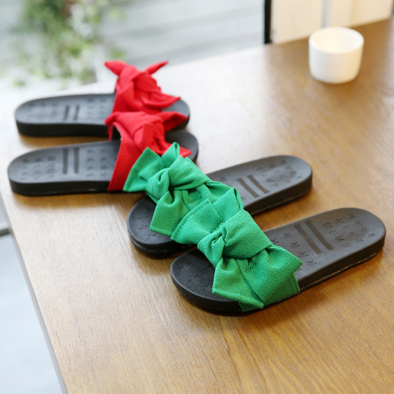 Akexiya 2017 Summer Girls Sandal Bowtie Children Slide Casual Beach Sandal  Baby Girl Black Shoe Sole Kid Fashion Slip On Slipper-in Sandals from  Mother ... 5e46e4d571ac