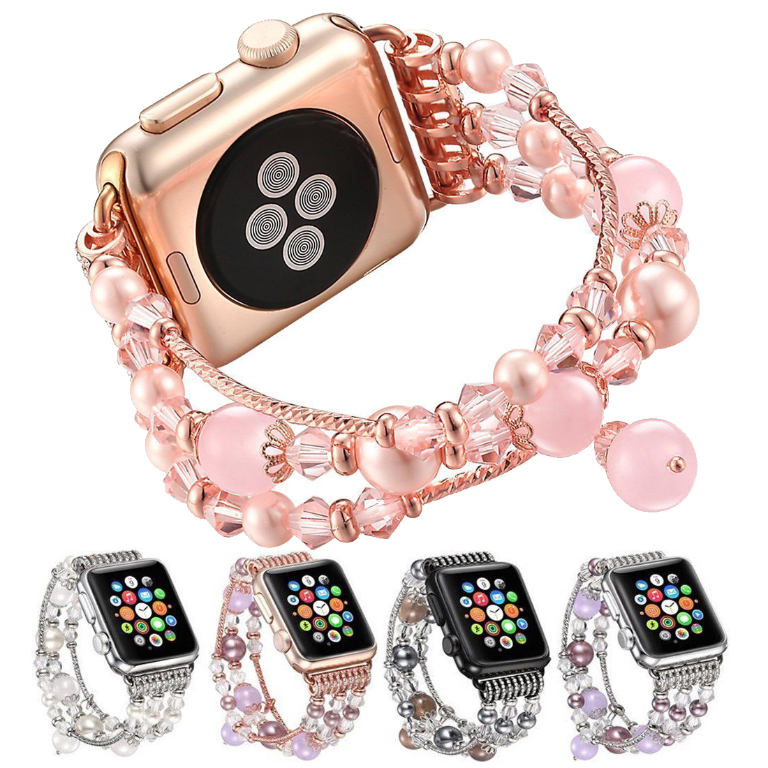 Essidi Agate Bracelet Strap For Apple Watch Series 5 4 3 2 1 Stretchable Bead 38 40 42 44 MM Watch Band Clasp For Iwatch Series