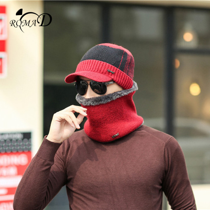 ROMAD 2pcs Winter Warm  Scarf Hat Set For Men Fashion Soft Casual Unisex Cap Scarves Sets Gift Outdoor R4