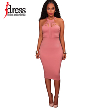 IDress S XXL Sexy Women Wrap Chest Sleeveless Party Dresses Women Blue Pink Red Midi Dresses Elegant Tight Bandage Bodycon Dress