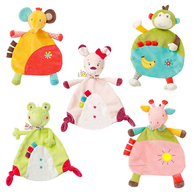 New 5 Style Newborn Baby Appease Towel Grasping Soft Comforting Doll Infant Toys Baby Hand Towel Rattle Toys