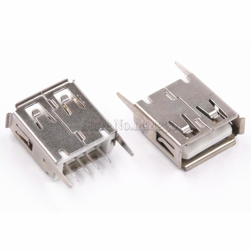 10Pcs USB Type A Female Socket 180 Degrees Vertical 4pins USB Interface