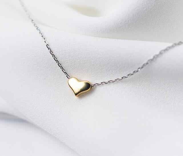 (7MM*5mm Tinny Small heart) 100% Real. 925 Sterling Silver Jewelry Golden Heart Love Pendants Necklace GTLX1398